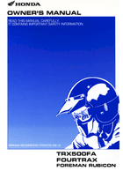 Download 2002 Honda Trx500fa Owner S Manual Pdf 184 Pages