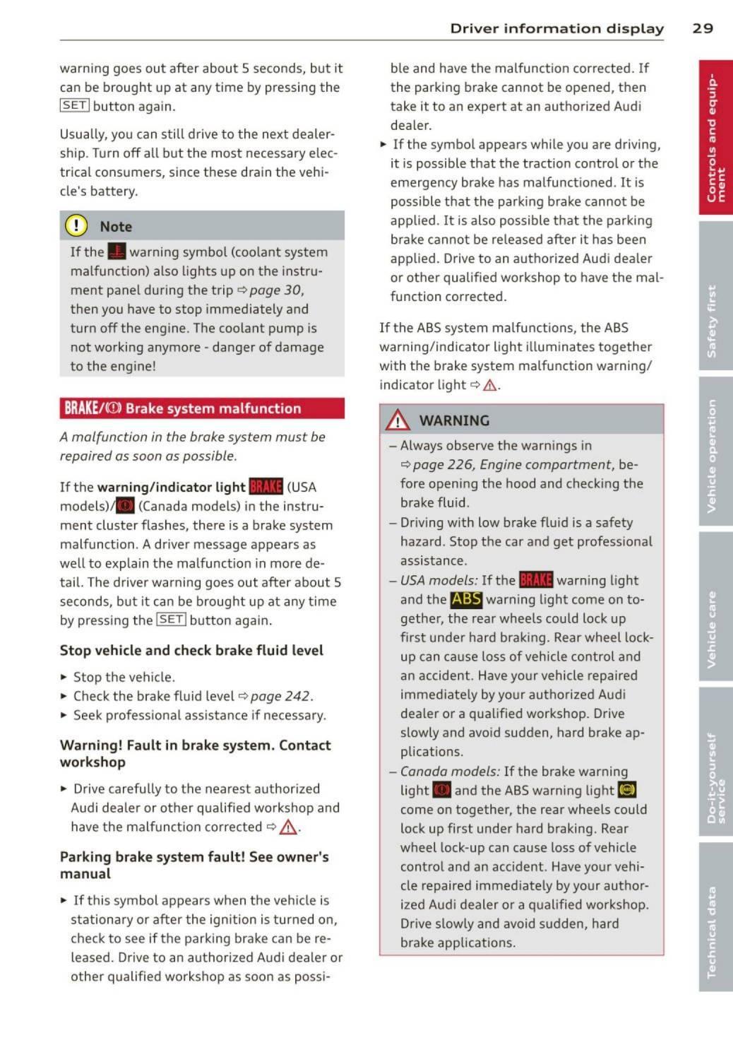 2013 Audi Q5 / SQ5 – Owner's Manual – Page #31 – PDF