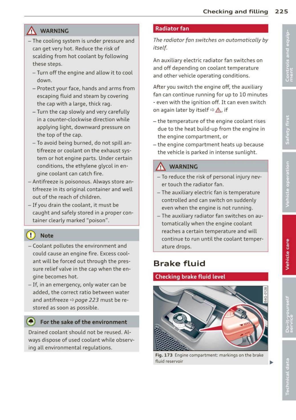 Audi A7 Manual Pdf 1995 Mitsubishi Montero Sr 3500 Engine Compartment Fuse Box Diagram Array 2012 Sportback S7 U2013 Owner U0027s Page 227