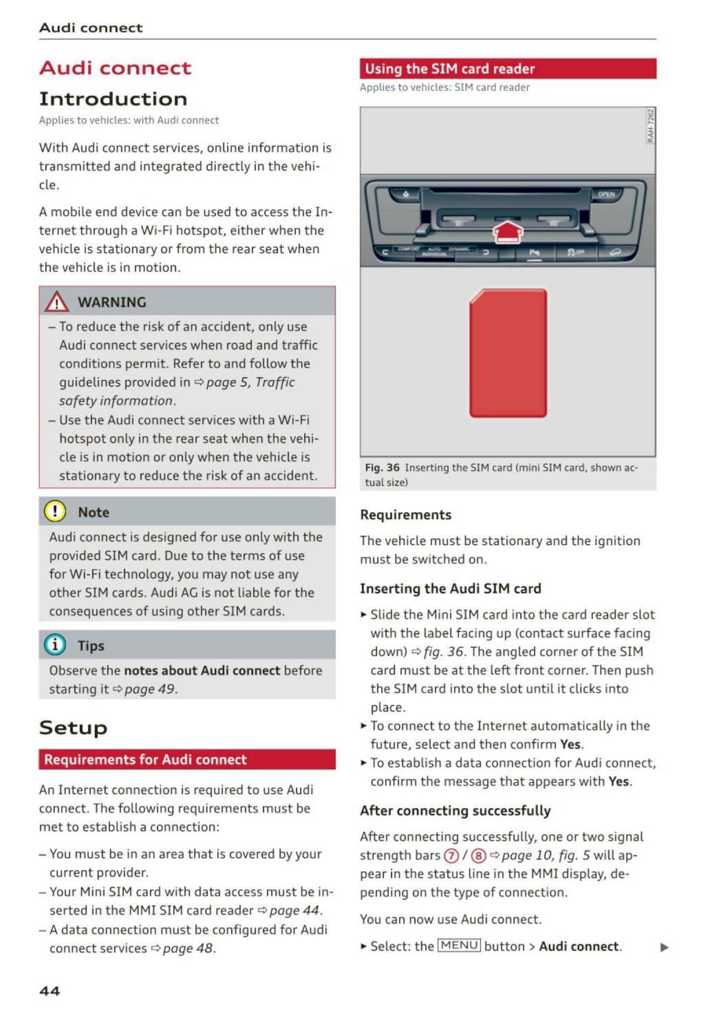 2016 Audi A4 / S4 – MMI Navigation plus – Page #46 – PDF Manual
