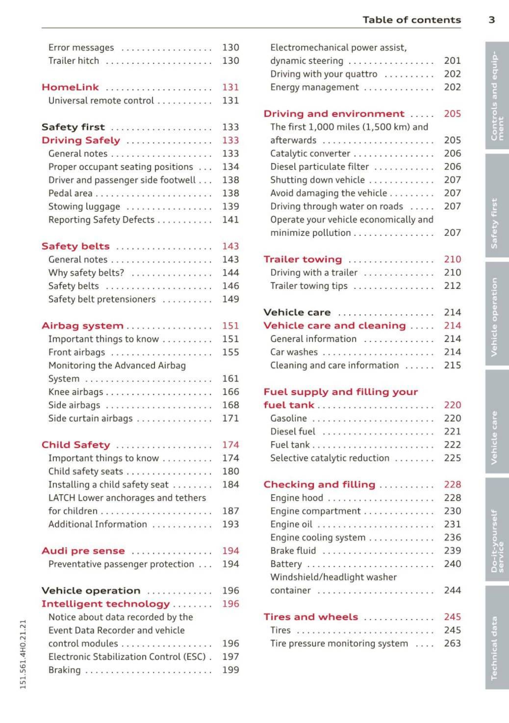2015 Audi A8 S8 Owners Manual Page 5 Pdf