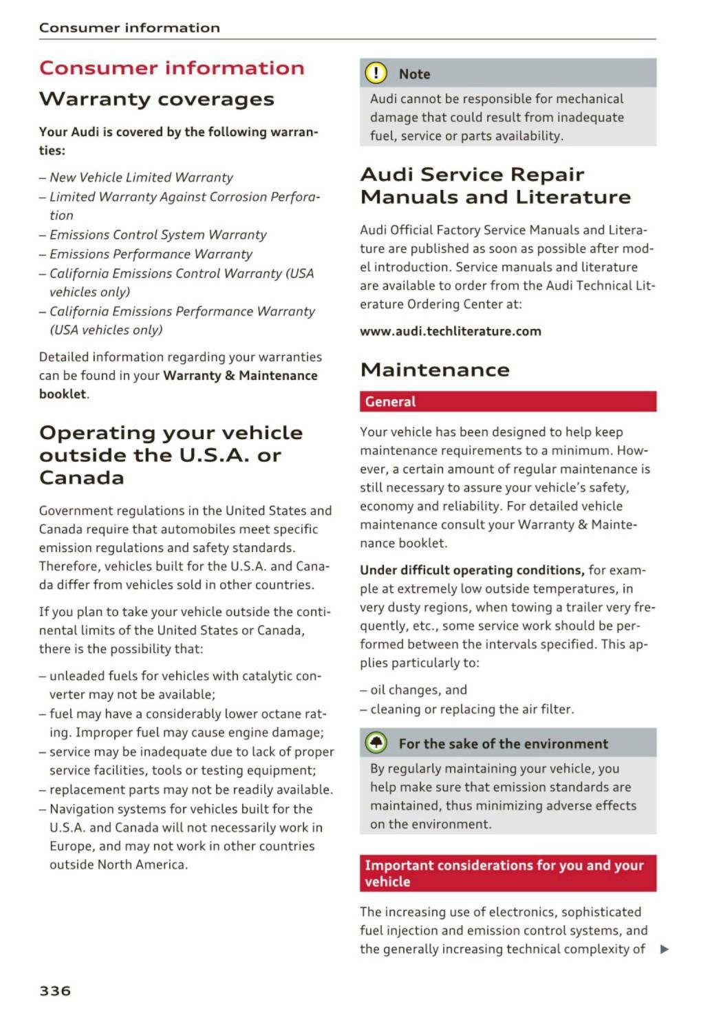 2017 Audi A8 S8 Owners Manual Page 338 Pdf