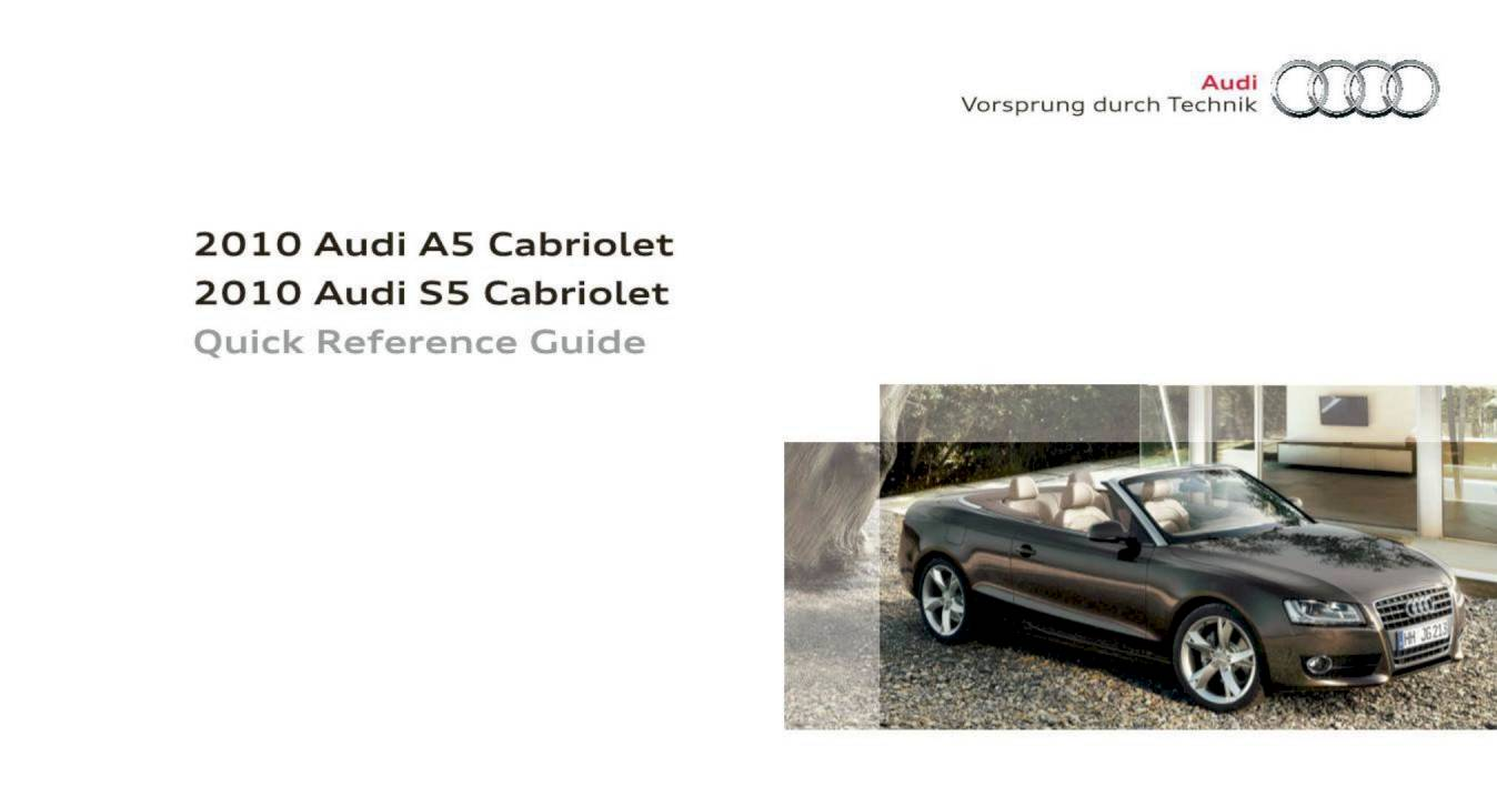 2010 audi a5 cabriolet s5 cabriolet quick reference guide 16 rh ownersmanuals2 com Quick Reference Guide Examples Training Quick Reference Guides