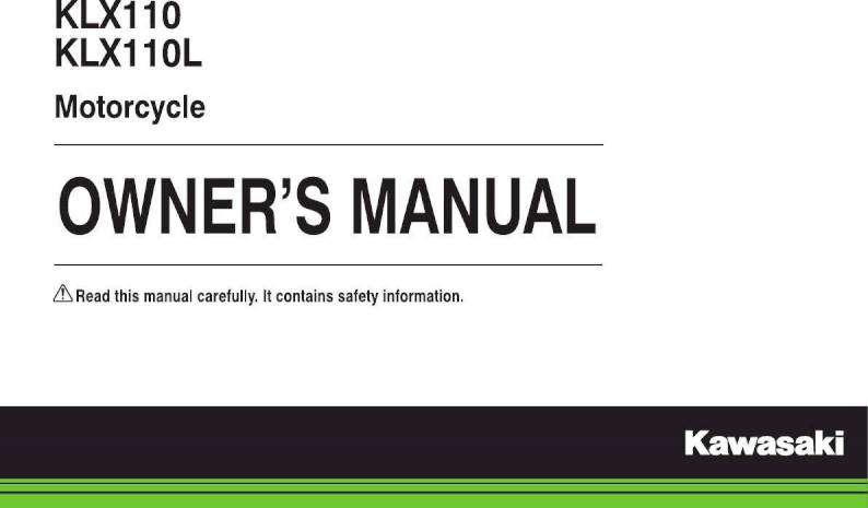 2018 Kawasaki KLX110 – Owner's Manual – 124 Pages – PDF on kawasaki ksr 125, kawasaki klx110l review, kawasaki side by side, kawasaki dirt bikes, 2014 kawasaki 110l, kawasaki mx, kawasaki kx65,