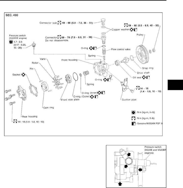 2004 Nissan Frontier Repair Manual Power Steering System Oil Pump
