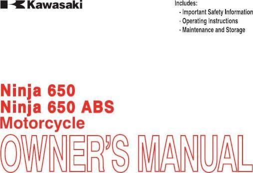 2014 Kawasaki Ninja 650 Owners Manual 195 Pages Pdf