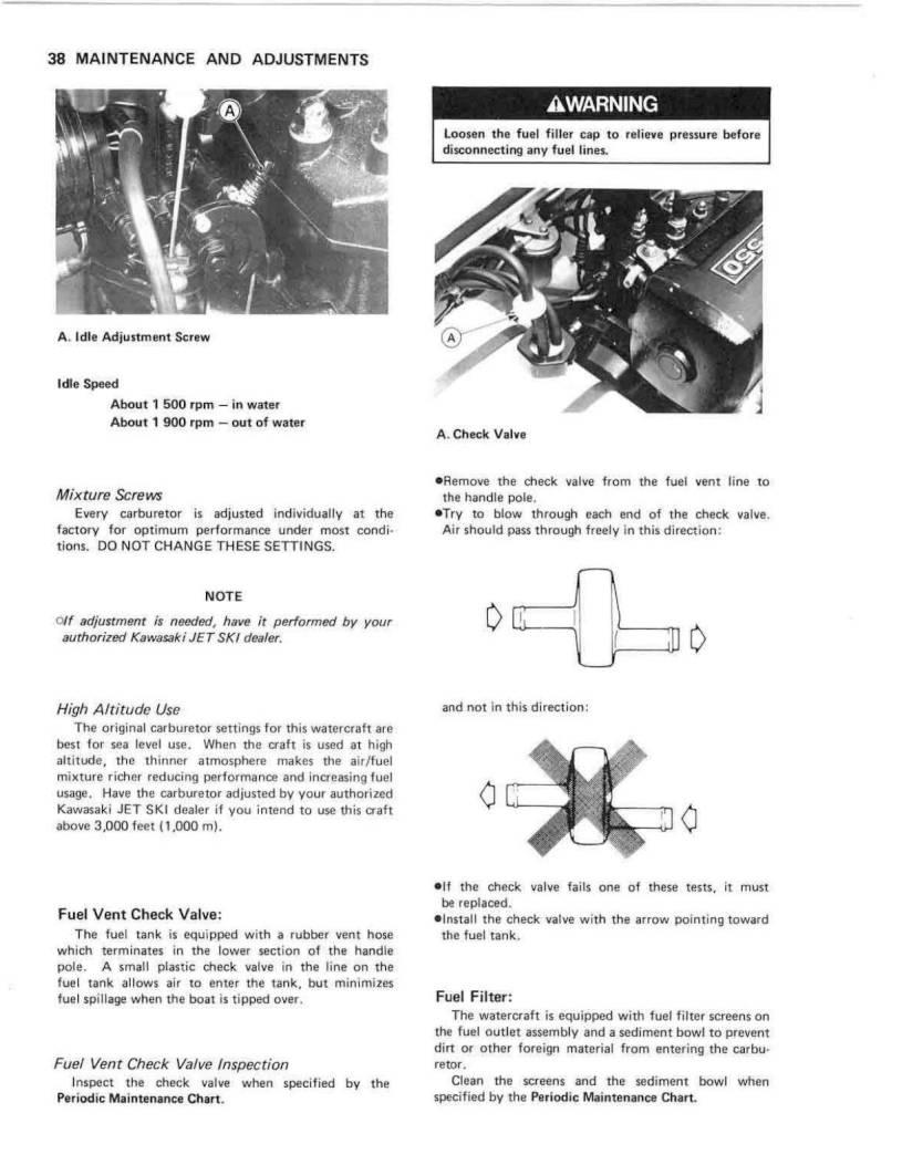 1990 Kawasaki Jet Ski 550 Sx Owners Manual Page 40 Pdf Fuel Filter