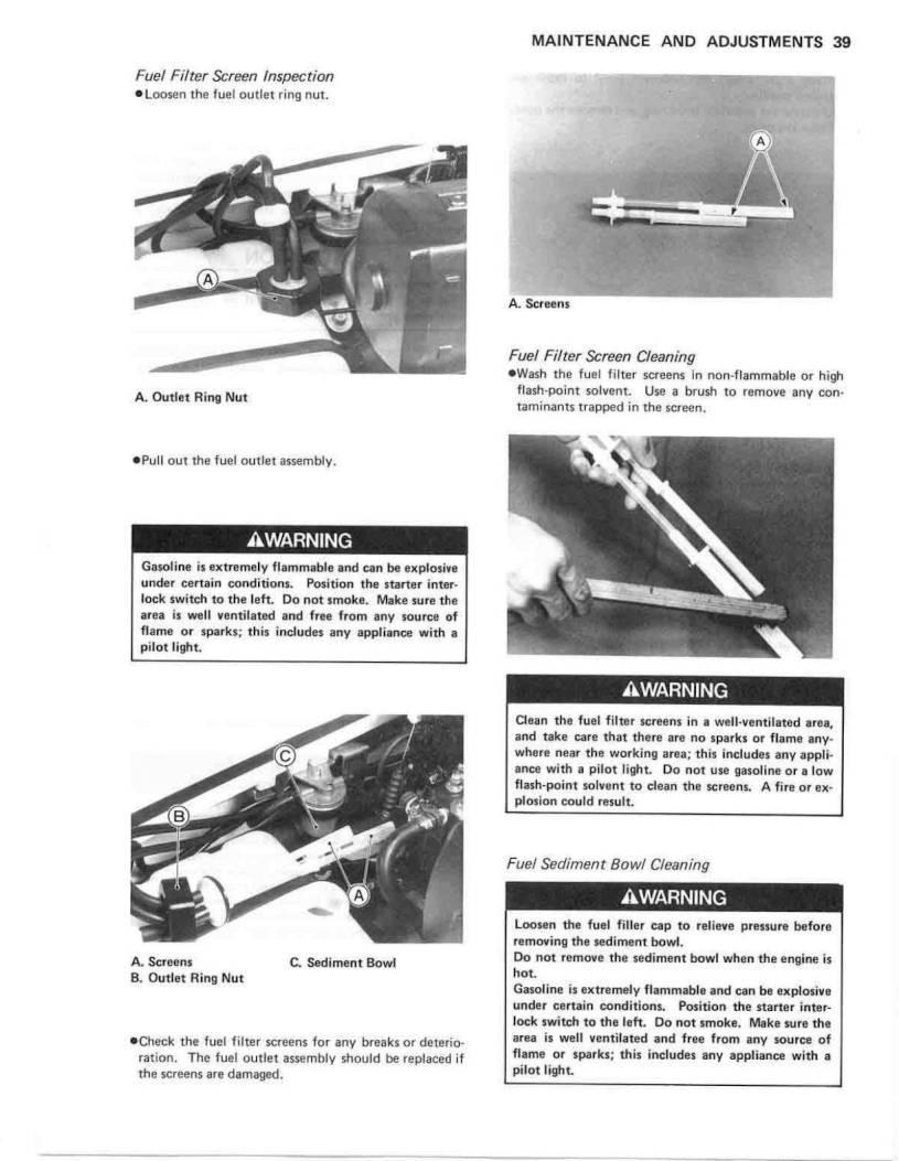 1990 Kawasaki Jet Ski 550 Sx Owners Manual Page 41 Pdf Fuel Filter